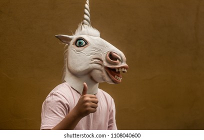 Photograph of a teen with a funny unicorn mask