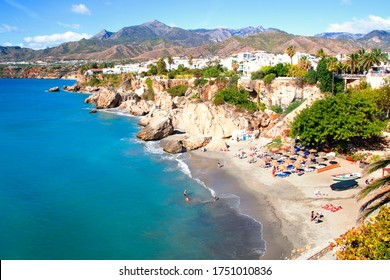Photograph of tourist spaces in the town of Nerja, Málaga, one of the white villages of Andalusia, Spain, Calahonda beach, photography from the balcony of Europe, Mediterranean Sea,