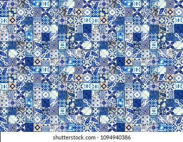 Photograph of traditional blue tiled wall taken in Lisbon and Porto in Portugal