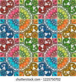 Photograph of traditional portuguese tiles in 4 different colours.  Red, orange, blue and green.