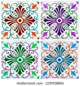 Photograph of traditional portuguese tiles in 4 different colours.  Orange, turquoise, purple and green.