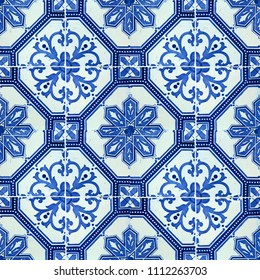 Photograph of traditional portuguese tiles in blue with flowers
