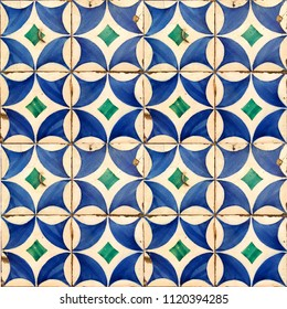Photograph of traditional portuguese tiles in blue and green