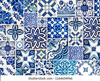 Photograph of traditional portuguese tiles in blue with flowers, line and pattern