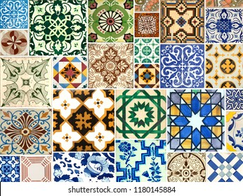 Photograph of traditional portuguese tiles in blue, brown and green