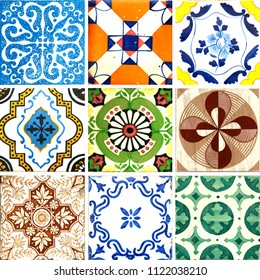 Photograph of traditional portuguese tiles in different patterns and colours