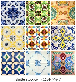 Photograph of traditional portuguese tiles in different colours and patterns