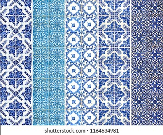 Photograph of traditional portuguese tiles with different pattern in blue