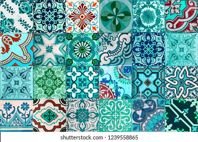 Photograph of traditional portuguese tiles in different kind of blue, green and turquoise