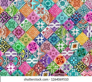 Photograph of traditional portuguese tiles in different colours.  Pink, purple, blue, turquoise and green.