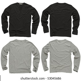 Photograph of two wrinkled blank black and gray long sleeve shirts, fronts and backs.  Clipping path included.  Ready for your design or logo.