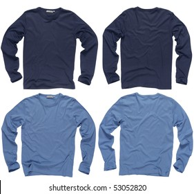 Photograph of two wrinkled blank navy and light blue long sleeve shirts, fronts and backs.  Clipping path included.  Ready for your design or logo.