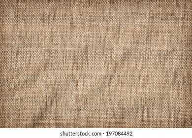 Photograph of un-primed artist's linen duck coarse grain canvas crumpled vignette texture sample