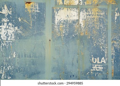Photograph of urban random collage background or rust texture