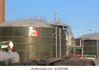 Photograph of a water pollution treatment center taken in London Ontario Canada on July 6th 2017