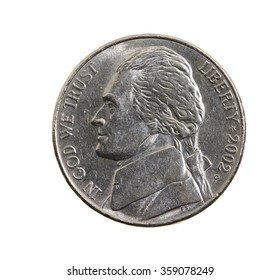 photographed close up and isolated on a white background five US cents