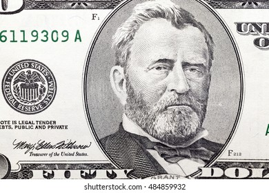 photographed close-up American dollars, small depth of field, banknote worth fifty dollars, old