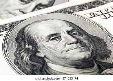 photographed close-up money of the United States, US Dollars