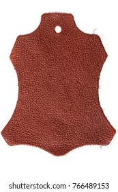 Photographed, cow skin shaped, rust brown dyed leather sample on white background. Series of different samples/colors.