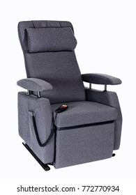 Photographed grey senior lift chair with remote control on white background.