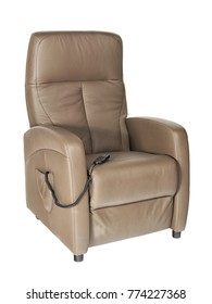 Photographed liver colored leather senior lift chair with remote control on white background.