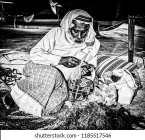 Photographed on 18/01/2017 in Sheikh Zayed Heritage Festival, Abu Dhabi, UAE. Craftwork prepares nets for fishing and pearl diving.