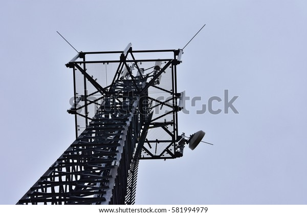 Photographed radio tower from below