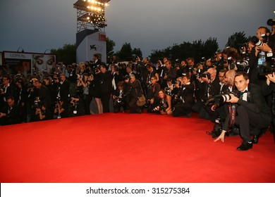 Photographer attend the premiere of the movie 'BLACK MASS' during the 72nd Venice Film Festival on September 4, 2015 in Venice, Italy.