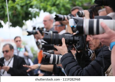 Photographer attends 'In War (En Guerre)' Photocall during the 71st annual Cannes Film Festival at Palais des Festivals on May 16, 2018 in Cannes, France.