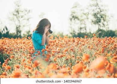 Photographer brunette young woman taking a picture with camera the poppy flower meadow in summer outdoor.