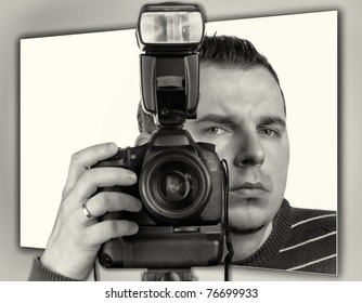 Photographer with the camera portrait