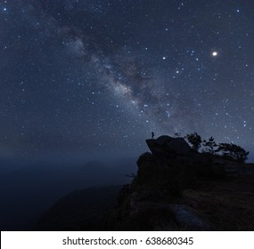Photographer doing astro photography on the top of mountain nightscape with milky way galaxy. The background is stary celestial bodies in astronomy. The heaven depicts science and the divine.