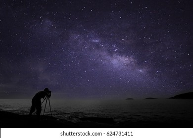 Photographer doing photography nightscape with milky way galaxy