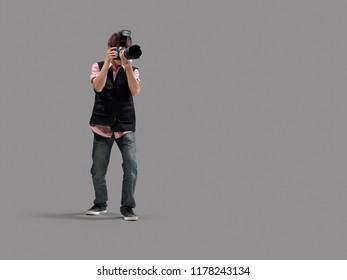 Photographer isolated on grey background.