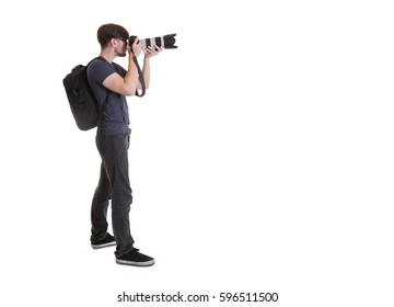 Photographer isolated on white background.