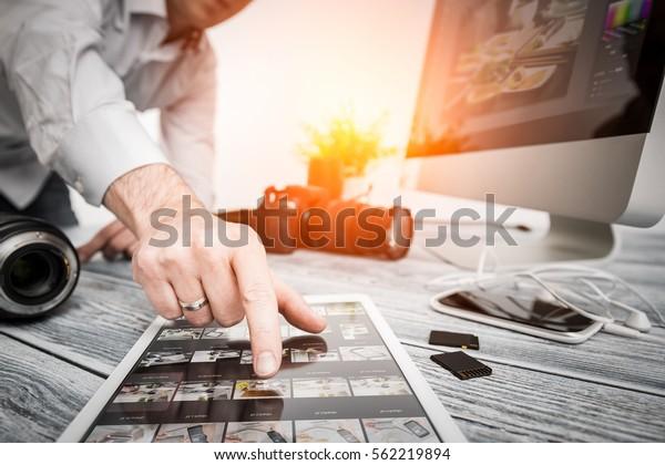 photographer journalist camera traveling photo dslr editing edit hobbies lighting business designer concept - stock image