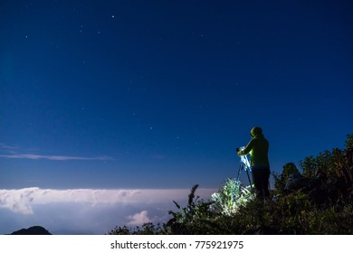 Photographer and Landscape of Doi Luang Chiang Dao, The third highest mountain in, Thailand