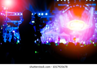 Photographer in live concert,Photographer video Recording in Concert.