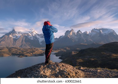 Photographer in a national park Torres del Paine, Patagonia, Chile