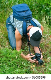 The photographer photographing the nature. Summer, outdoor