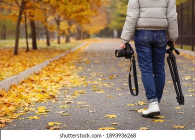 Photographer with professional camera and tripod outdoors on autumn day, closeup. Space for text