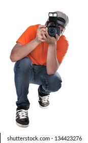 photographer squatting on white background