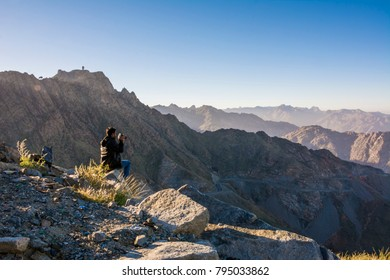 Photographer taking mountainscape at Taif, Saudi arabia
