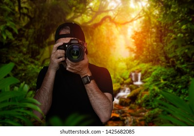 Photographer taking pictures in the middle of nature