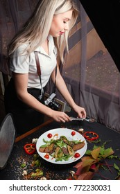 photographer woman has a delicious break. backstage of photoshoot. active lifestyle. proper nutrition.
