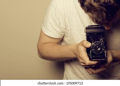 Photographer - Young Man -Retro Shooting
