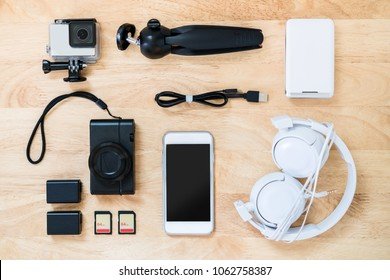 Photographer-blogger-traveller equipment top view.