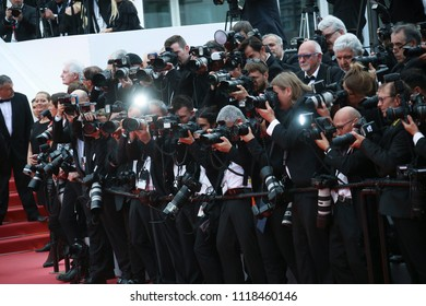Photographers attend the screening of 'Yomeddine' during the 71st annual Cannes Film Festival at Palais des Festivals on May 9, 2018 in Cannes, France.