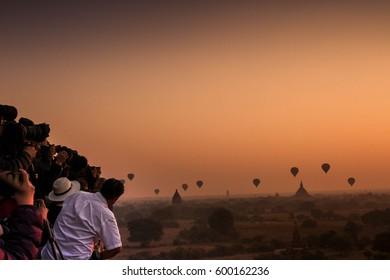 Photographers chase sunrise in Bagan, Myanmar