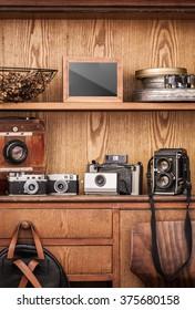 Photographer's cupboard. Vintage cameras.